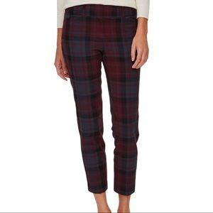 Loft Maroon Tartan Plaid Modern Skinny Ankle Pants